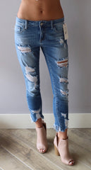 ESSENTIAL MidRise Open Destruction Ankle Skinny Jean