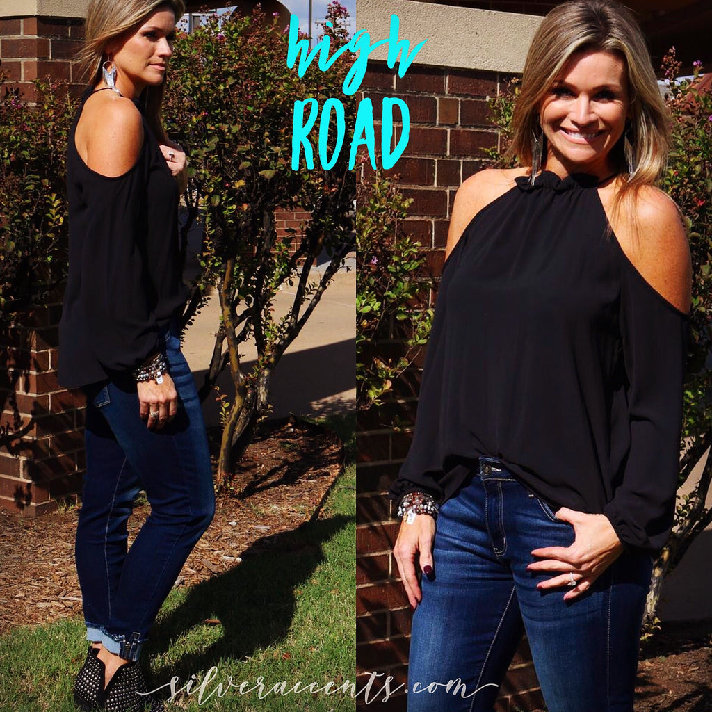 HIGH ROAD Gather Neck ColdShoulder LongSleeve Chiffon Top