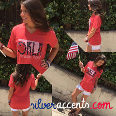 OKLA AMERICAN PROUD Red Triblend V-Neck Tee Top
