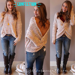 CONFECTION Multi Polka Dot Reversible Twist Sweater Top