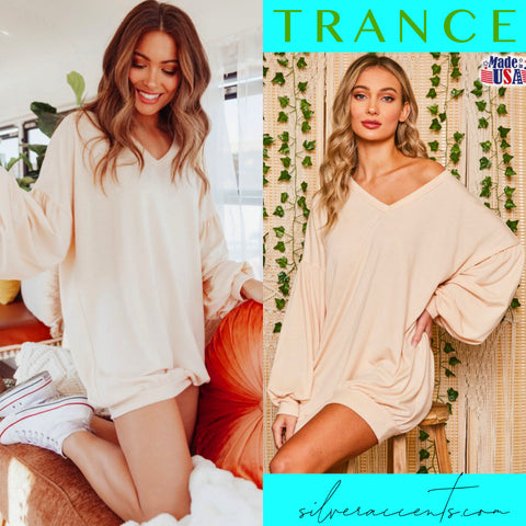 TRANCE BubbleSleeve V-Neck Sweatshirt Tunic Dress