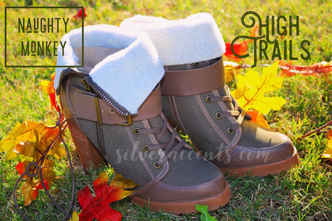 NAUGHTY MONKEY Olive HIGH TRAILS Sherpa Lined Pieced Leather Bootie Shoe