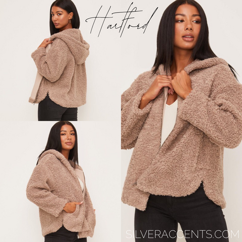 HARTFORD Teddy Faux Fur Hooded Jacket