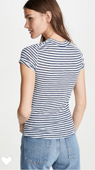 FREE PEOPLE Stripe NIGHT SKY Roll Sleeve Top