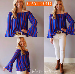 GAYLORD Stripe Off Shoulder RuffleSleeve Top