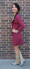 BOBI Bordeaux SAVAGE Supreme Jersey Kanga Pocket Supreme Jersey Quarter Sleeve Tunic Dress