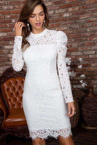 SWORN Lace HiNeck Puff Sleeve ScallopHem Dress