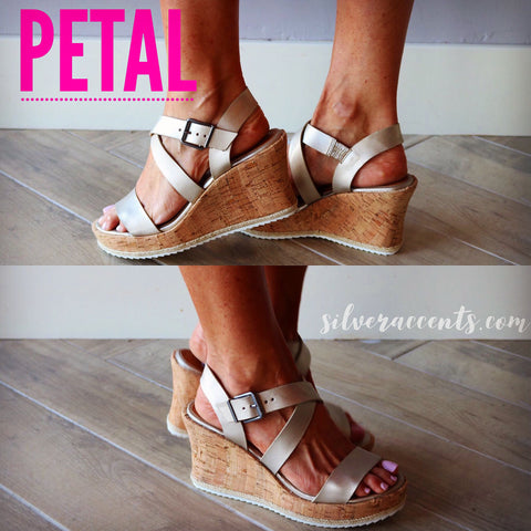 NOT RATED Champagne PETAL Strappy Platform Wedge Sandal Shoe