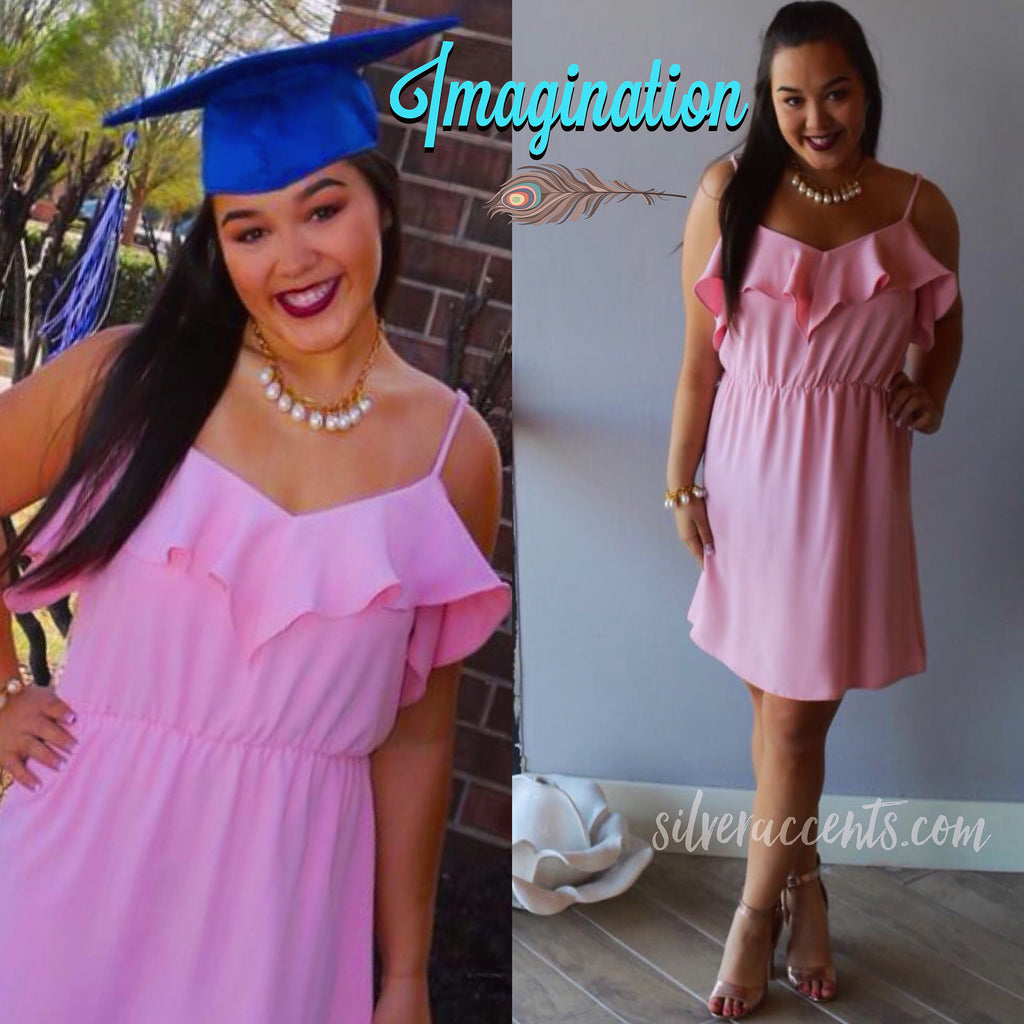 IMAGINATION Ruffle ColdShoulder Dress
