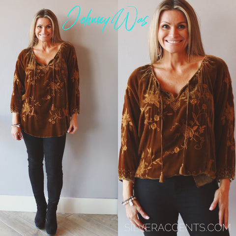 JOHNNY WAS Velvet MILLIE Embroidered Peasant Blouse