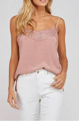 COCO Lace Trim Satin Cami Top