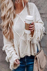 SEIZE THE DAY TasselSleeve CableKnit Sweater Top