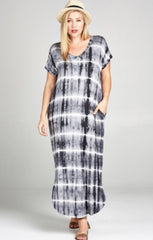 GOOD TIMES Curvy Dip Dye V Neck Maxi Dress