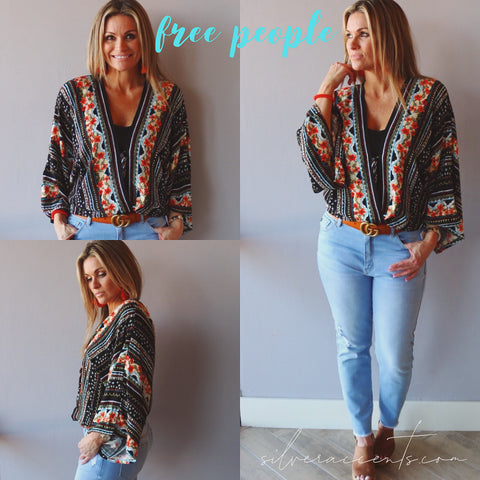 FREE PEOPLE BellSleeve FOR YOU Floral Bodysuit