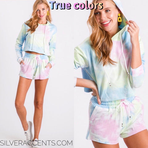 TRUE COLORS 2pc TieDye Hoodie/Short Set