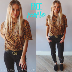 FREE PEOPLE Cheetah Print CLARITY CrewNeck Top