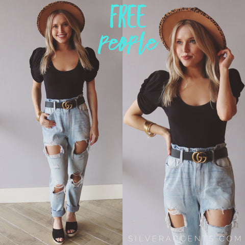 FREE PEOPLE PuffSleeve AVA Knit Bodysuit Top