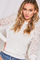 VALID Lace BalloonSleeve Sweater Top