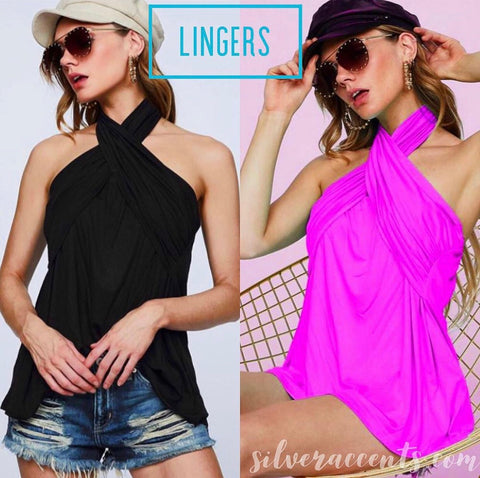 LINGERS CrossNeck Halter Tube JerseyKnit Top