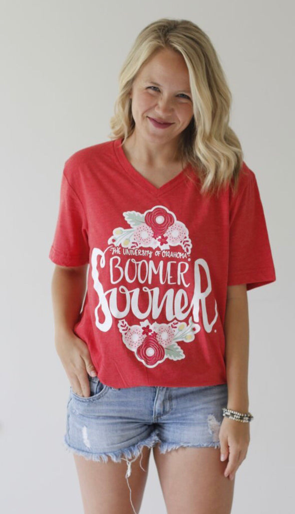 Calamity Jane FLOWER FOOTBALL Logo V-Neck TriBlend Tee