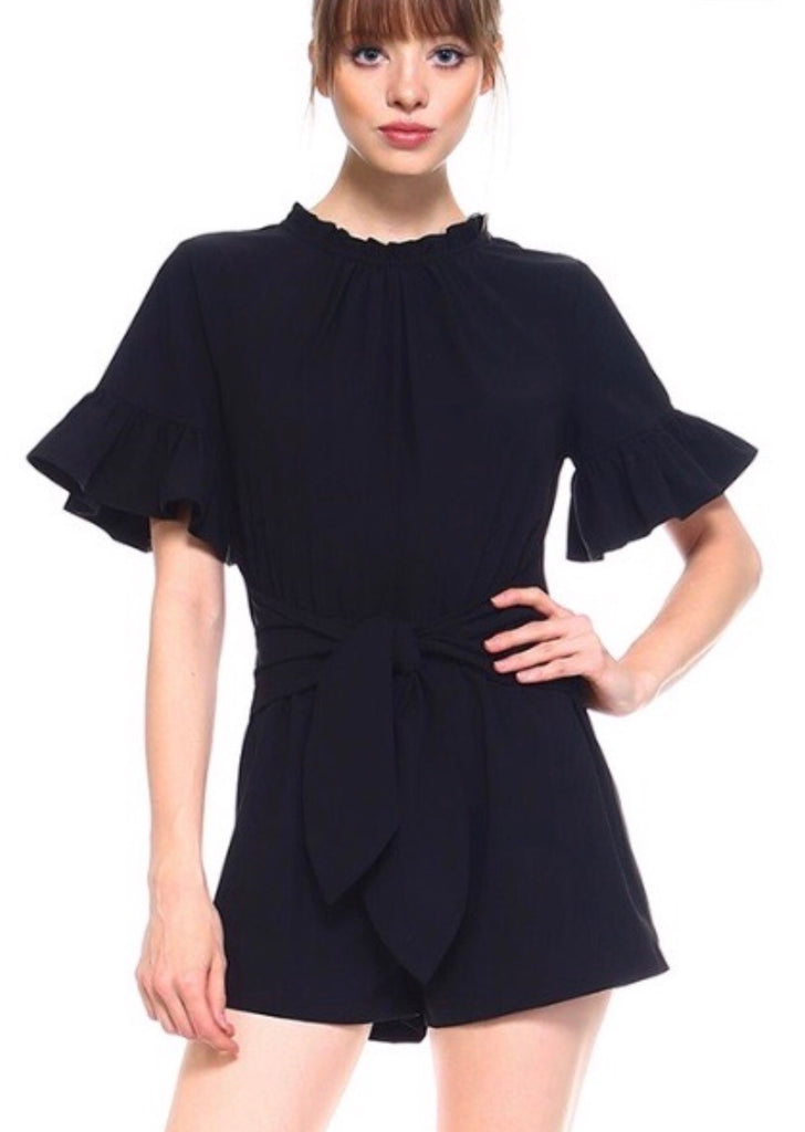 AWESTRUCK Gather Neck Ruffle Sleeve Tie Front Romper