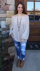 FIRESIDE OffShoulder/BoatNeck BubbleSleeve Knit Sweater Top