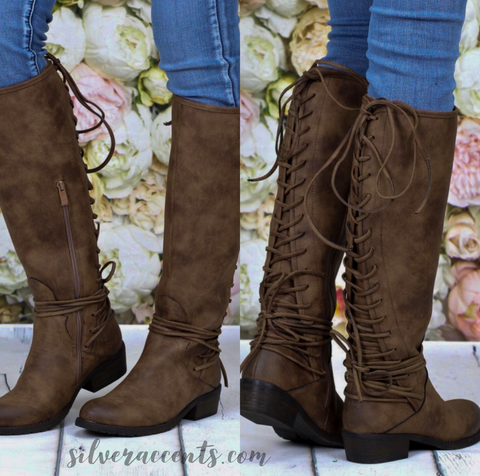 VV MARCELINA Lace Up Back Boots