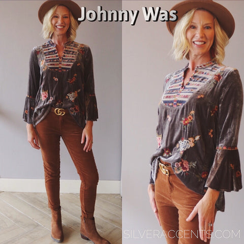 JOHNNY WAS Velvet SISILIA Embroider FlareSleeve Blouse Top