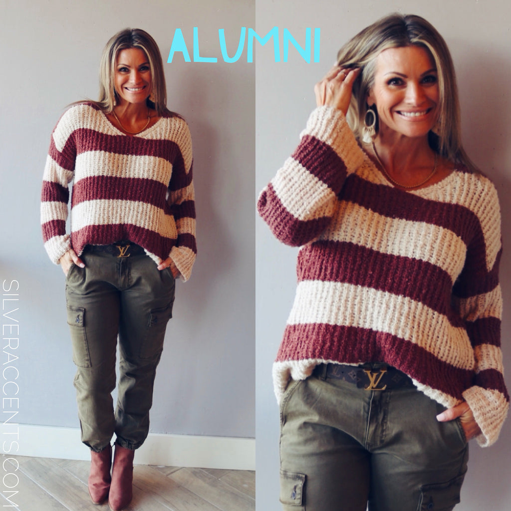 ALUMNI ColorBlock Strip VNeck Sweater Top