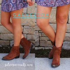 Very Volatile GALVESTON Metallic Toe Kick Suede Booties