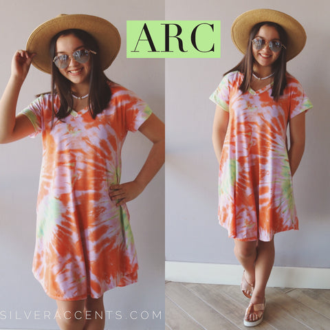 ARC TieDye V-Neck ShortSleeve Jersey Pocket Dress