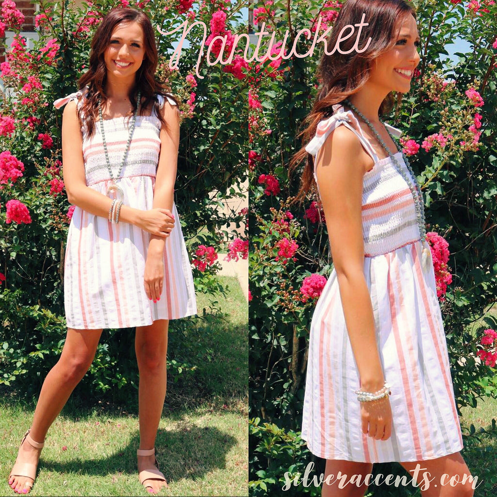 NANTUCKET Strap Smock-Bust Woven TieStrap Dress
