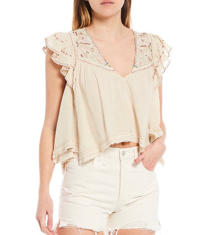FREE PEOPLE Embroidered HAILEY Flutter Sleeve Top