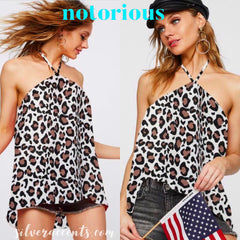 NOTORIOUS CrossNeck Halter Crepe Sleeveless Top
