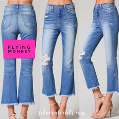 FLYING MONKEY HiRise MILANO Distressed Fray Cropped Flare Jeans