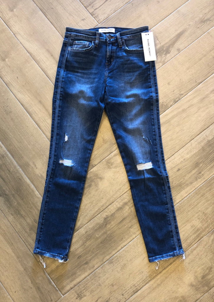 FLYING MONKEY Distressed WICKLOW Tuxedo Stripe Jean