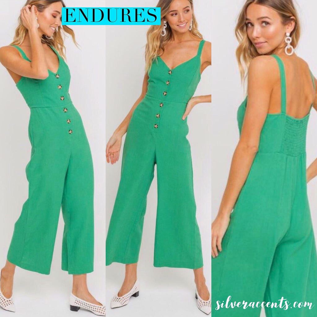 LUSH ButtonDown ENDURES SmockBack Linen Jumpsuit Pant Romper