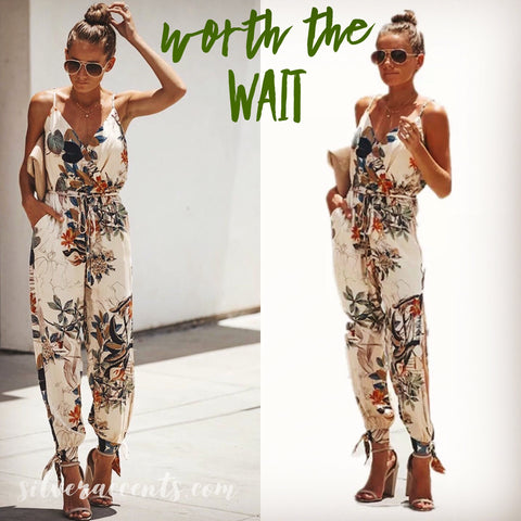 WORTH THE WAIT CrossOver TieWaist OpenLeg AnkleTie Jumpsuit Pant Romper