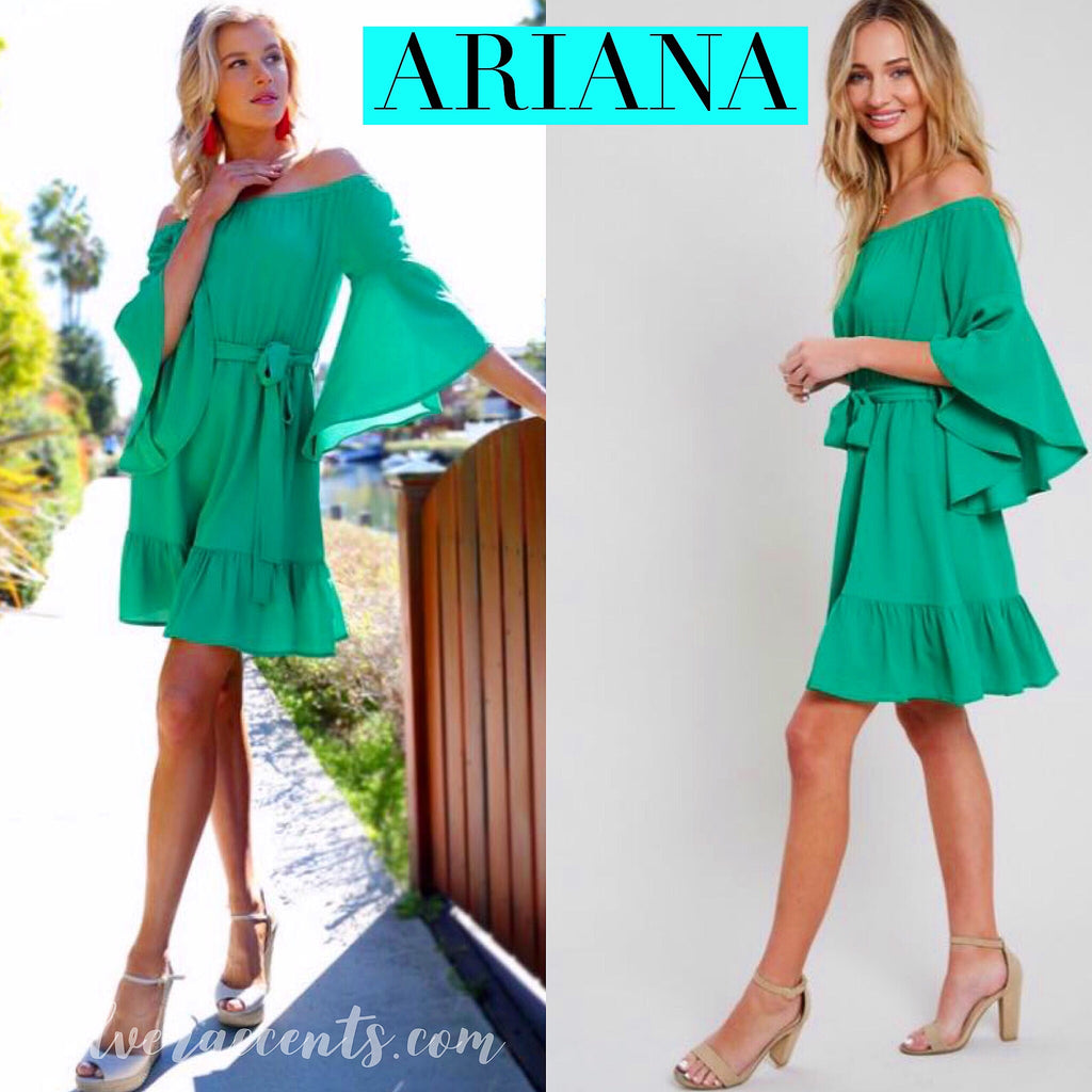 ARIANA OffShoulder RuffleHem TieWaist Woven Dress