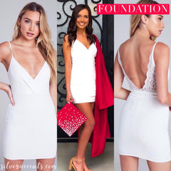 FOUNDATION V-Neck LaceBack Bodycon Dress