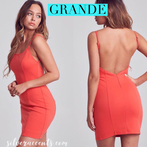 GRANDE ScoopNeck V-Back Bodycon Dress