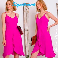 SIGNIFICANT Ruffled SplitHem Spaghetti Strap Chiffon Dress