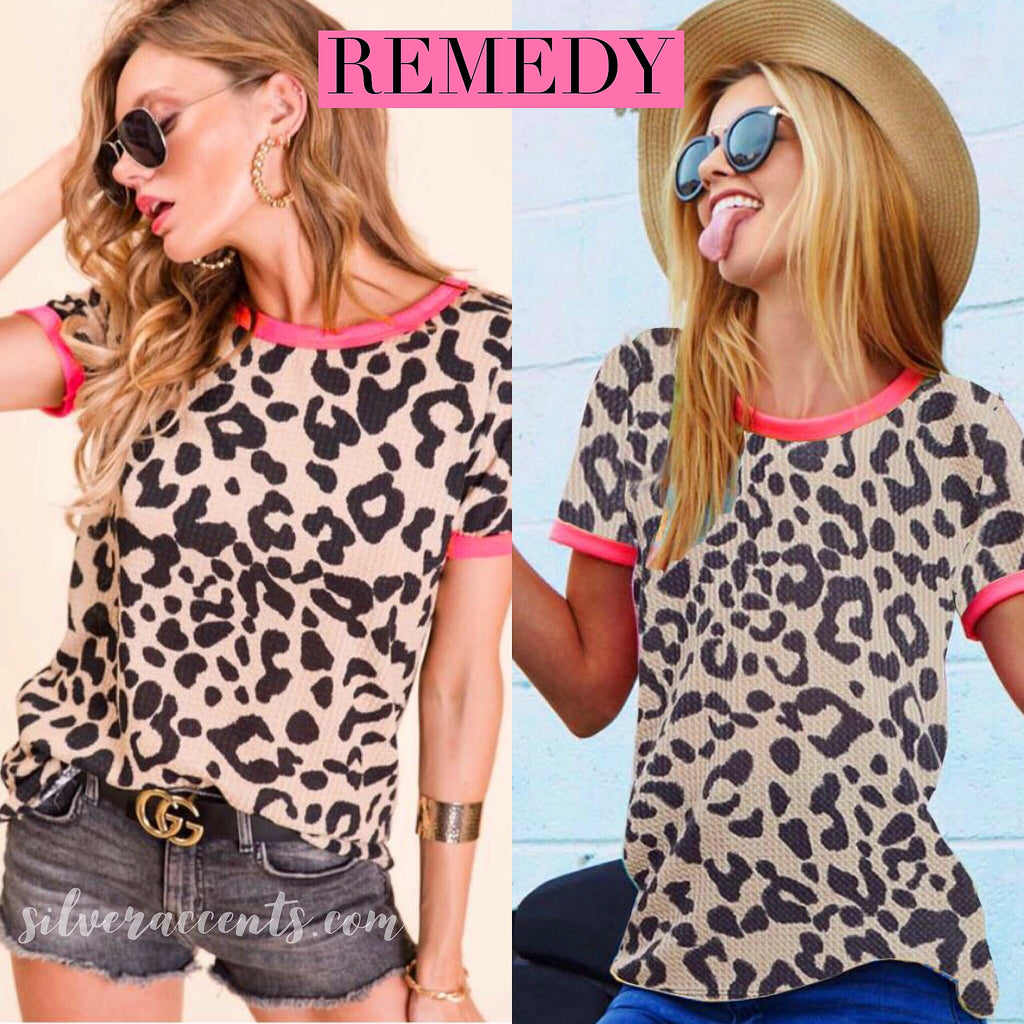 REMEDY Leopard Waffle Neon Trim Ringer Tee Top
