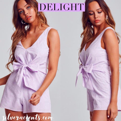 DELIGHT PolkaDot TieFront Woven Short Romper