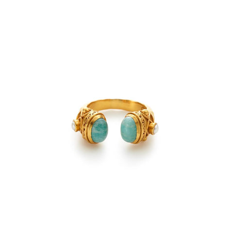 JULIE VOS SAVANNAH Ring In Amazonite And Pearl
