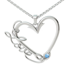 Love Fishing Birthstone Pendant (.925 silver)