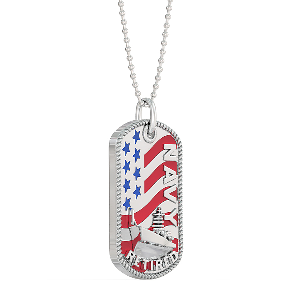 Navy Retired Dog Tag - Pendant and Ball Chain