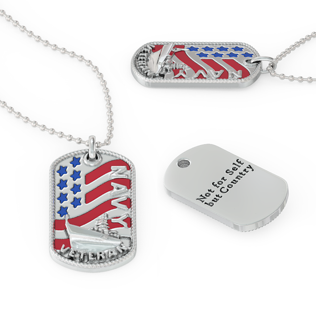 Navy Veteran Dog Tag - Pendant and Ball Chain
