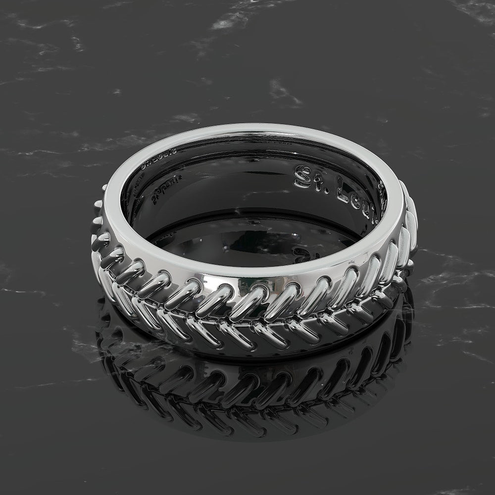 Unique Stitched Baseball Wedding Band