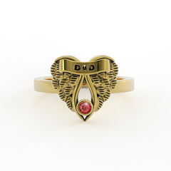 My DAD my Guardian Angel - Gold Plated Birthstone Ring